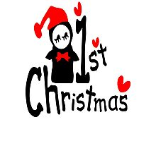 My 1st Christmas txt penguin vector art  Photographic Print
