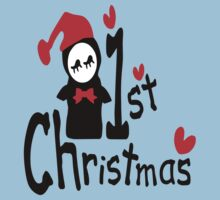 My 1st Christmas txt penguin vector art  Kids Tee