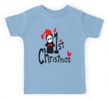 My 1st Christmas txt penguin vector art  Kids Tee