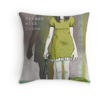 Friend with Croco Throw Pillow
