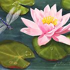 Sweet Lily With Dragonfly by Joan A Hamilton