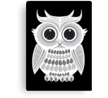 White Owl - Black Canvas Print