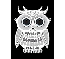 White Owl - Black Photographic Print