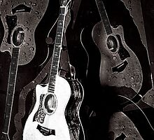 Guitar and Raindrops by susan stone