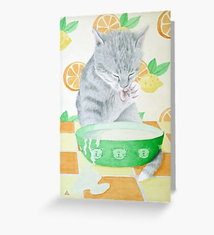 The cat gets the cream! Greeting Card
