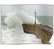 """""""Cornwall again under attack from the Alantic storms"""" Poster"""