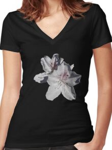 white azalea flowers Women's Fitted V-Neck T-Shirt