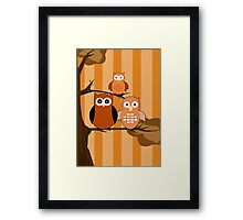 Orange Owls Framed Print