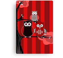 Red Owls Canvas Print