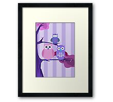 Purple Owls Framed Print