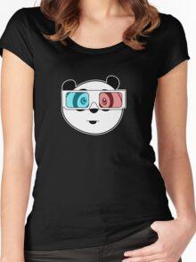 Panda - 3D Glasses (Black) Women's Fitted Scoop T-Shirt