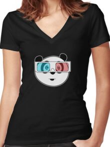 Panda - 3D Glasses (Black) Women's Fitted V-Neck T-Shirt