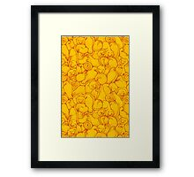 Sleepy House Animal Pattern - red and gold Framed Print