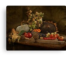 still life of autumn fruits and vegetables Canvas Print