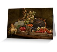 still life of autumn fruits and vegetables Greeting Card