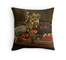 still life of autumn fruits and vegetables Throw Pillow