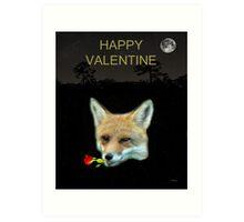 Eftalou Fox Max with rose HAPPY VALENTINE Art Print