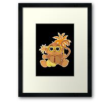 Monkey Nerd - Black Framed Print
