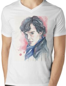 Watercolor portrait of Sherlock  Mens V-Neck T-Shirt
