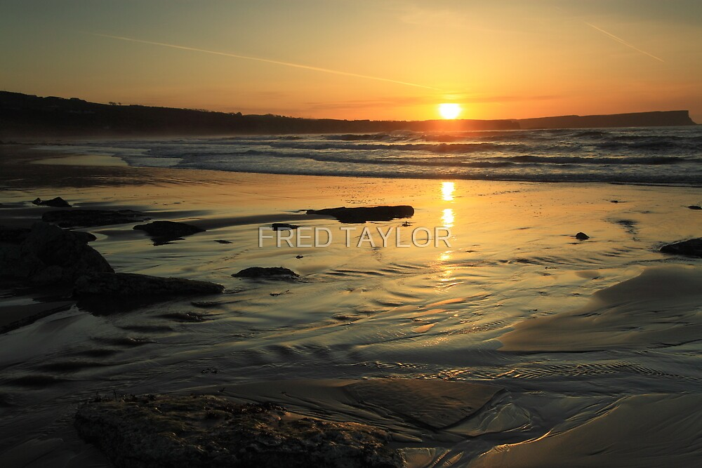 Sunset at White Park Bay, Ireland. by Fred Taylor