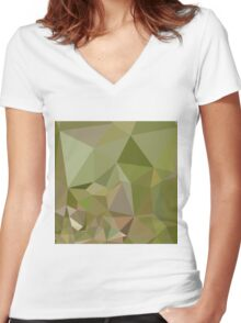 Dark Olive Green Abstract Low Polygon Background Women's Fitted V-Neck T-Shirt