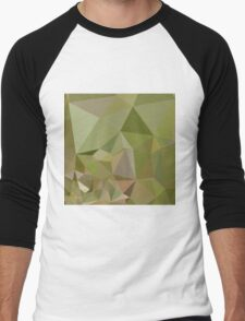 Dark Olive Green Abstract Low Polygon Background Men's Baseball ¾ T-Shirt