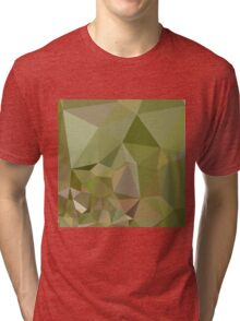 Dark Olive Green Abstract Low Polygon Background Tri-blend T-Shirt