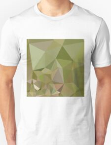 Dark Olive Green Abstract Low Polygon Background T-Shirt