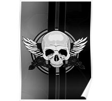 Wing Skull - BLACK & WHITE Poster