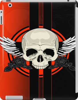 Wing Skull - ORANGE by Adamzworld