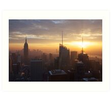 sunset, manhattan, empire state Art Print