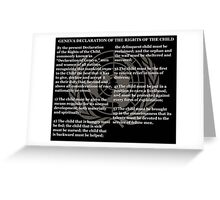 Geneva Declaration of the Rights of the Child Black Background and Gold UN Logo Greeting Card