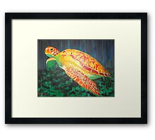 Sea turtle within rays of sunshine Framed Print