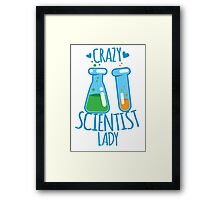 Crazy Scientist lady Framed Print