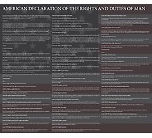 American Declaration of the Rights and Duties of Man Black Background and US Flag Photographic Print
