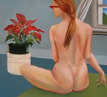 nude girl at window interior oil painting by gordon anderson