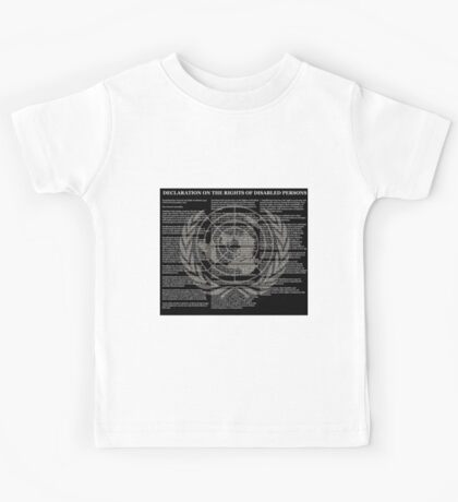 Declaration on the Rights of Disabled Persons Black Background and Gold UN Logo Kids Tee