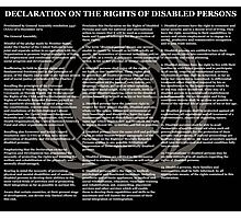 Declaration on the Rights of Disabled Persons Black Background and Gold UN Logo Photographic Print