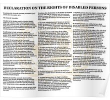 Declaration of the Rights of Disabled Persons White Back w dim Gold UN Logo Poster
