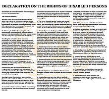 Declaration of the Rights of Disabled Persons White Back w dim Gold UN Logo Photographic Print