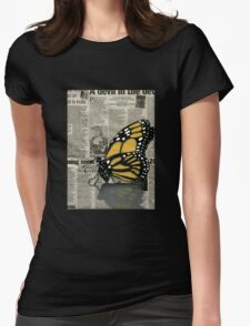 Butterfly on my Newspaper Womens Fitted T-Shirt