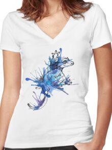 Taru-Blueberry Splash Women's Fitted V-Neck T-Shirt
