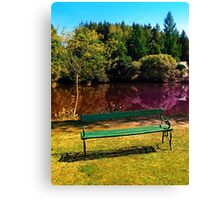 Bench at the pond Canvas Print
