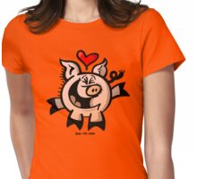 Pig Falling Head over Heels in Love Womens Fitted T-Shirt