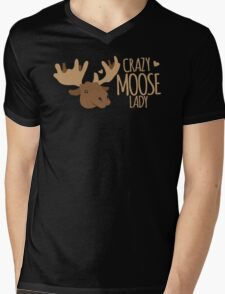 Crazy Moose Lady Mens V-Neck T-Shirt