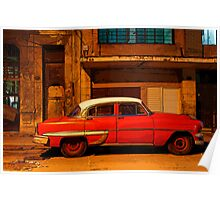 Classic Red American car at Dawn, Havana, Cuba Poster