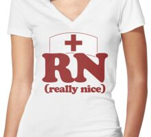 RN really nice Women's Fitted V-Neck T-Shirt