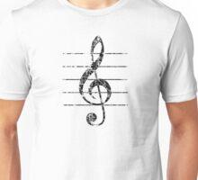 G-Clef, Treble Clef with Lines Vintage Black Unisex T-Shirt