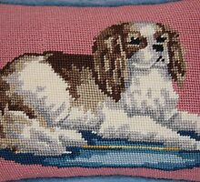 Cavalier King Charles Spaniel in Needlepoint by daphsam
