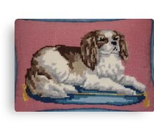 Cavalier King Charles Spaniel in Needlepoint Canvas Print